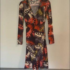 Cabi Midi Length Long Sleeve Butterfly Dress